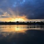 coucher de soleil sur le rhône